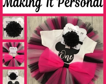 Girls 1st Birthday Cake Smash Outfit Pink and Black Mickey Mouse Tutu & Personalised Vest READY 2 POST !!