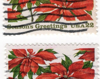 Season Greetings - Christmas Poinsettia (2) - US Postage - Used - Off Paper - Scott 2166
