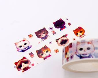 Kawaii Cat Washi Tape, Cat Washi Tape, Cute Cat Washi Tape, Animal Washi Tape, Washi Tape Animal, Kitty Washi Tape, Cat Planner Washi