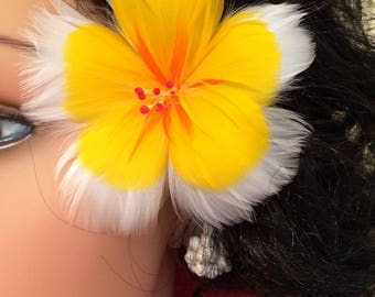 Tropical White & Yellow Hibiscus Feather Flower Ear Pick. Hawaiian Wear,Aloha Wear,Local Girl,Hula Girl,Tahitian Dancer,Feather Flowers