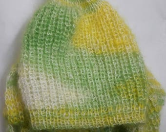 Winter pom pom hat and scarf-collar for girls or women in green and yellow colors, hand knitted, mohair yarn