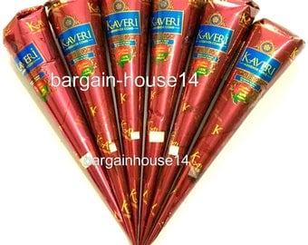 6 henna Cones Dark Brown Henna Temporary Tattoo kit  Cones tubes *No Chemicals 100% Natural & Safe* Herbal Henna Cones Bridal henna Art