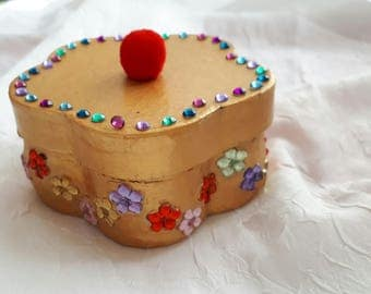BOX gold flowers, painted cardboard...