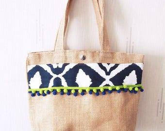 Bag recycled in Burlap, Bohemian chic