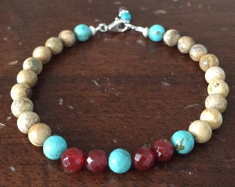 Picture Jasper with Turquoise and Red Agate Bracelet