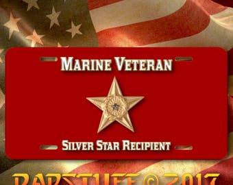 "Marine Veteran Silver Star Recipient Novelty Commemorative License Plate Aluminum 6"" x 12"""