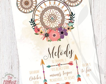 Minnie Mouse Boho Invitation - Birthday Invite  - DIGITAL FILE