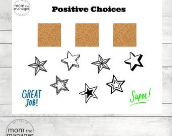 Positive Choices: Star Laminated Chart for daily chores, tasks and routines