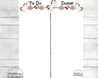 Instant digital download To Do and Done: Unicorns and Donuts Chart for Daily Routines, Tasks or Chores