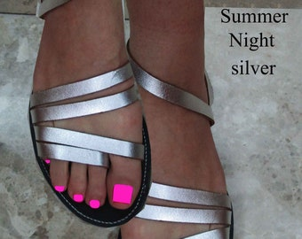 Sandals Women's,Women's Sandals,Handmade Sandals, Leather Sandals, Ladies Santals, Flip Flops,Silver  Leather Sandals,, SUMMER NIGHT