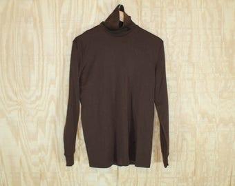 Vintage 1970's Obermeyer Ski Fashions Medico Brown Nylon Turtleneck Pull Over Sweater Shirt M / L