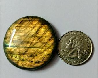 39.71 mm,Round Shape Labradorite Cabochon/Golden flaseh/Attractiv Labradorite/wire wrap stone/pendent size Labradorite/ Labradorite Cabochon