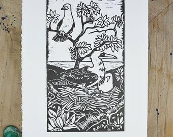 Original Artwork/ Abbot's Booby/ Linoprint / Australian Birds/ Sea bird / native birds/ Bird lover/ black and white/