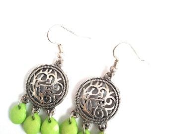 Handmade earrings with drops Green