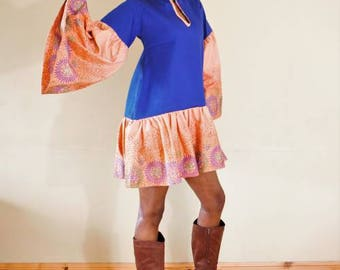 FOLKSHELF African Print Denim Mix Swing Dress