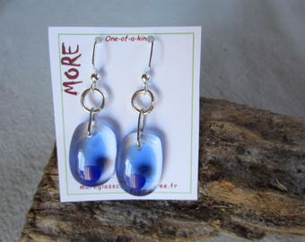 Light blue and Navy Blue transparent fused glass earrings