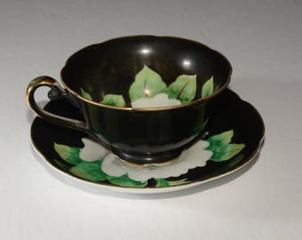 BLACK, Japan, Hand Painted, Bone China, Teacup, and Saucer, Large White Rose, Scalloped Edge, Gold Rimmed, 1940s-1950s, vintage, tea cup