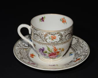 GERMANY SCHUMANN Dresden Flowers Teacup and Saucer, Gold Rimmed, Vintage, rare