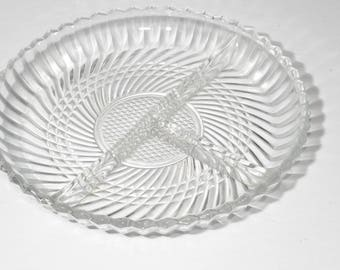Set of 2, Depression Glass, Divided serving Platter, Serving plate, 3-Part, excellent condition, Vintage Relish Tray, Pressed Glass Dish