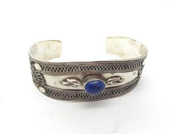Vintage Sterling Silver Blue Lapis Cuff Bracelet/September Birthstone/925/ Handmade/Adjustable Lapis Lazuli Silver Bracelet/Free Shipping US