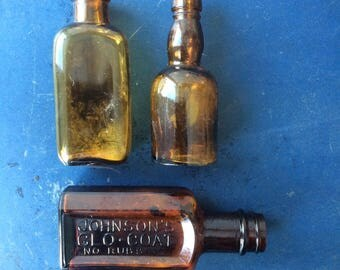 Three Vintage Amber Brown Glass Bottles, Johnson's Glo-Coat No Rubbing, Small Bottles, Cute, Sweet, Display