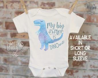 My Big Sister Is Dino-mite Dinosaur Onesie®, Funny Onesie, Cute Onesie, Cute Baby Bodysuit, Boho Baby Onesie - 287M