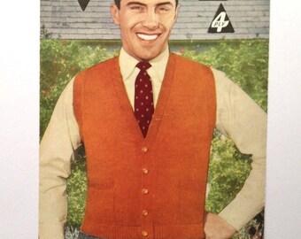 Vintage 1950s - Men's Sleeveless Cardigan - 4-ply & DK - Original Bestway Pattern B3122