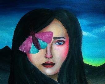 Original Acrylic Girl Painting Original Painting Girl Portrait Wall Art Home decor Wall Art Original Painting Acrylic art
