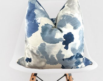 Blue Watercolor Floral Pillow Cover / Blue Decorative Throw Pillow / Blue Pillow Cover / Blue Pillow w Piping / Blue Tan and White Pillow