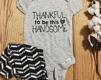 handsome onesie, Thanksgiving Onesie, Holiday Onesie, Turkey Onesie, Baby Onesie, Baby Boy Onesie,  Baby Girl Onesie,