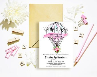 Up Up and Away Hot Air Balloon Girl Baby Shower Printable Invites Baby Shower Party Invitation Watercolor Pink Floral Baby Shower Invite DIY