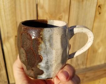 White, blue & brown mug