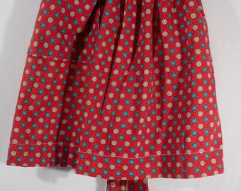 Vintage Cute Handmade Apron Red with Blue and White Flowers