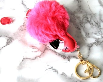 Boho Fluffy Pom Pom Flamingo Keychain, Pink Red Magenta, Tropical Vibes, Florida Keychian, Birthday Gifts For Her Under 10, Gold Plated