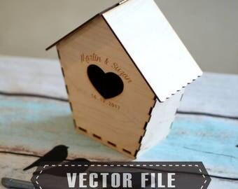 Birdcage decor laser file, BIrdcage box 3D vector file, svg laser file, dxf vector file for cutting, pdf vector file for laser machine