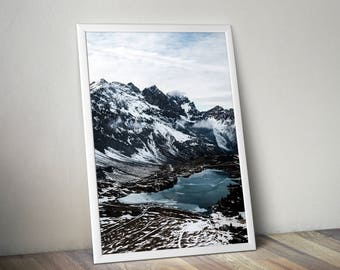 Snow mountains landscape print