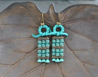 "Turquoise Czech Glass ""Abacus"" Artisan Earrings"