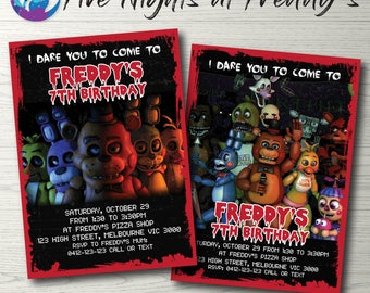 Five Nights at Freddy's Invitation Five Nights at Freddy's Party Invitation Five Nights at Freddy's Birthday Party FNAF Invitation Printable