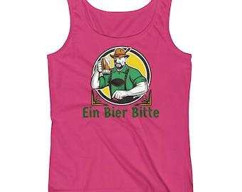 Ein Bier Bitte - One Beer Please German Oktoberfest Ladies' Tank