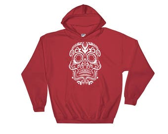 Tribal VooDoo Day Of The Dead Halloween Skull Print Unisex Hooded Sweatshirt