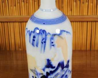 Japanese Blue and White Vintage/Antique Sake Bottle