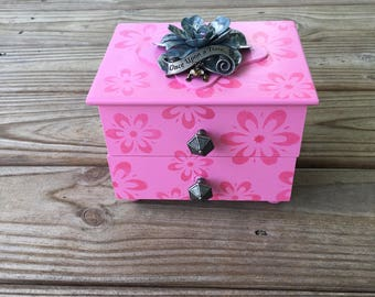 Vintage Upcycled Jewelry Box, Frog Prince, Fairytale, Pretty in Pink gift for girl