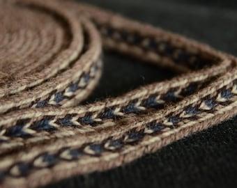 Handwoven trim / Ethnic wear / Brown blue white / Tablet weaving technique / Belt for woman / Belt for man / Medieval art / 18 mm strap