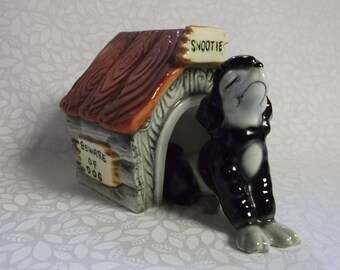 "Vintage Poodle ""Snootie"" and Doghouse Salt and Pepper Shakers"