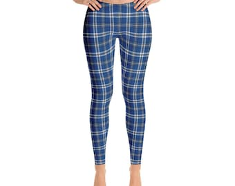 Giftson Blue, Plaid Leggings, Holiday Leggings, Christmas Leggings, Blue Plaid, Christmas Blue Leggings, Christmas Yoga Pants