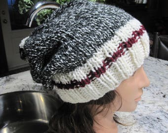 soft slouchy hat made with pompon wool needle