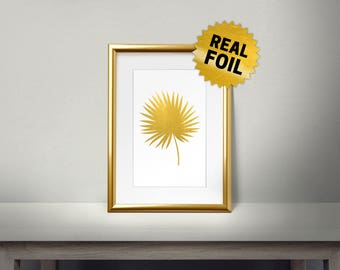Palm Tree Leaf, Real Gold Foil Print, Gold Wall Art, Leaves Wall Framed, Golden Leaf, Shiny, Living Room Decor, Gold Leaf Print