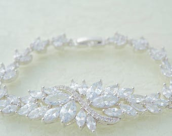Rhinestone Bridal Bracelet Wedding Bracelet Rhinestone Crystal Bracelet  Silver Crystal Bracelet Bridal Jewelry