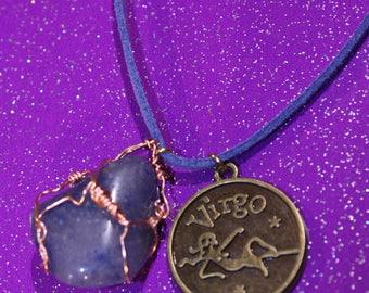 Blue Quartz Tumblestone Virgo Zodiac Charm Faux Suede Handmade Copper Wrapped Slip Knot Vegan Necklace