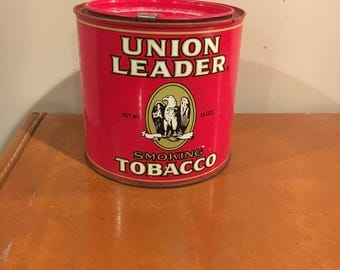 Vintage Union Leader Smoking Tobacco Can